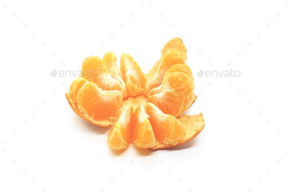 Tasty tangerine slices, closeup, isolated on white - Stock Photo - Images