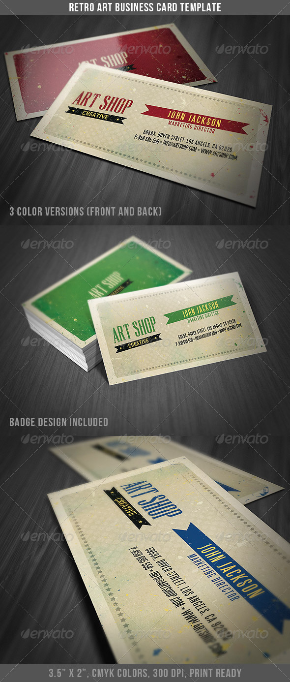 Retro art business card template by discoverit graphicriver retro art business card template retrovintage business cards colourmoves