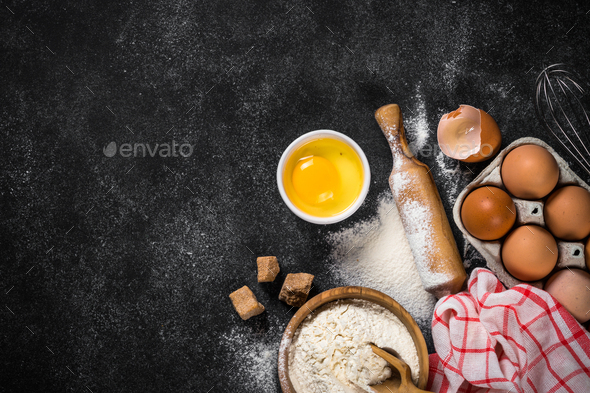 Ingredients for cooking baking on black - Stock Photo - Images