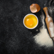 Baking background on black with flour and eggs - PhotoDune Item for Sale