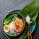 Asian rice noodle with shrimps and pok choy cabbage. - PhotoDune Item for Sale