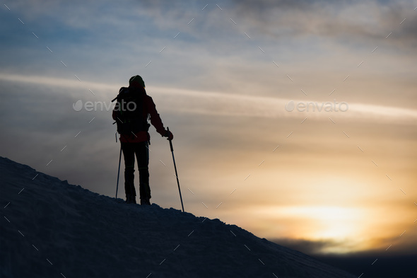 A mountaineer skier - Stock Photo - Images