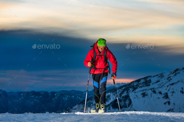 Ski touring at night - Stock Photo - Images