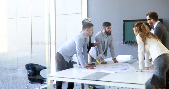 Perspective businesspeople having meeting in conference room - Stock Photo - Images