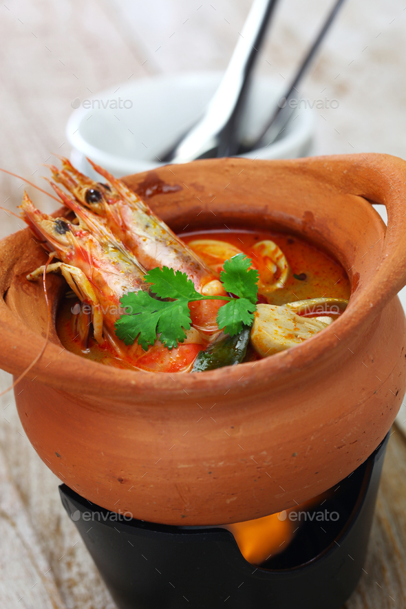 tom yum kung, thai hot and sour soup cuisine - Stock Photo - Images