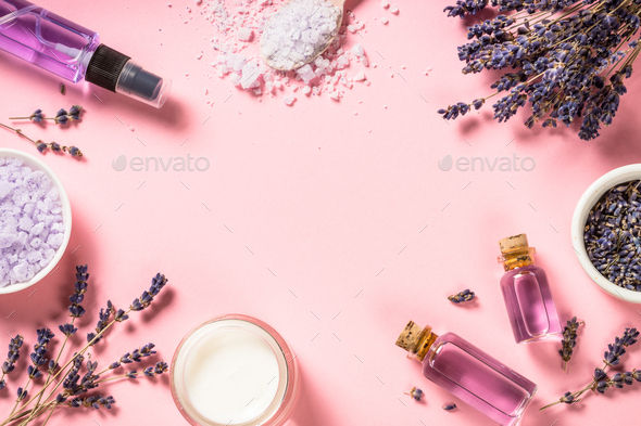 Natural lavender cosmetic on pink - Stock Photo - Images