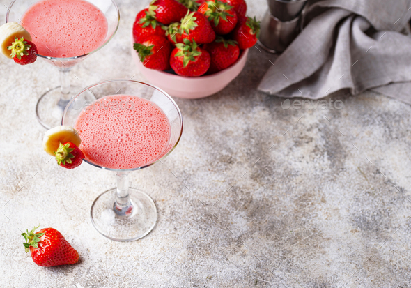 Sweet summer strawberry alcoholic cocktail - Stock Photo - Images