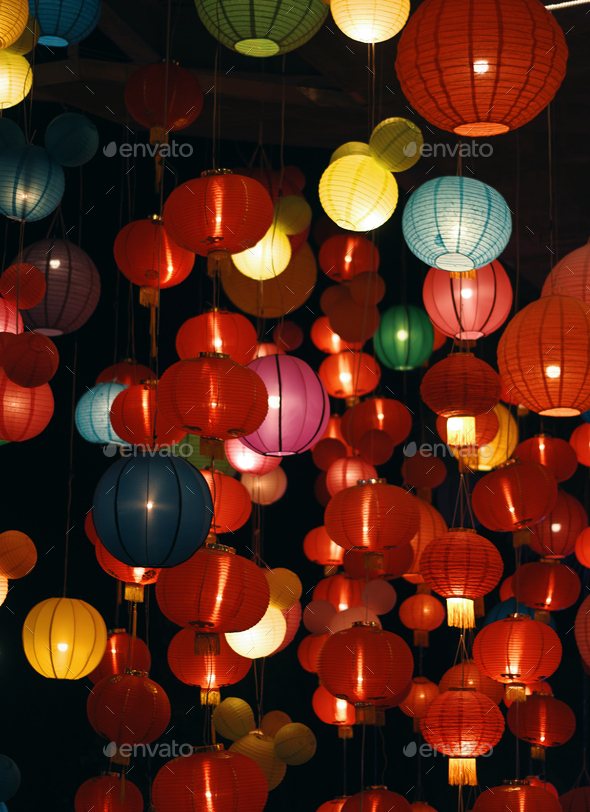 The vivid color of the lantern in Chinese new year - Stock Photo - Images