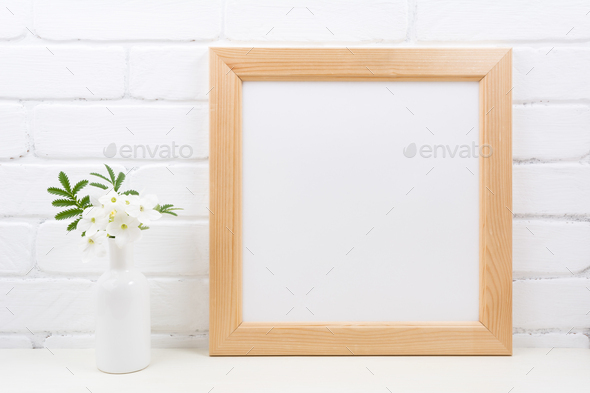 Wooden square frame mockup with Tobacco flowers - Stock Photo - Images