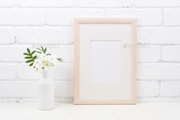Wooden frame mockup with Tobacco flowers - Stock Photo - Images