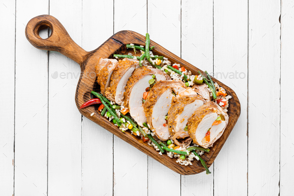 Baked meat and risotto - Stock Photo - Images