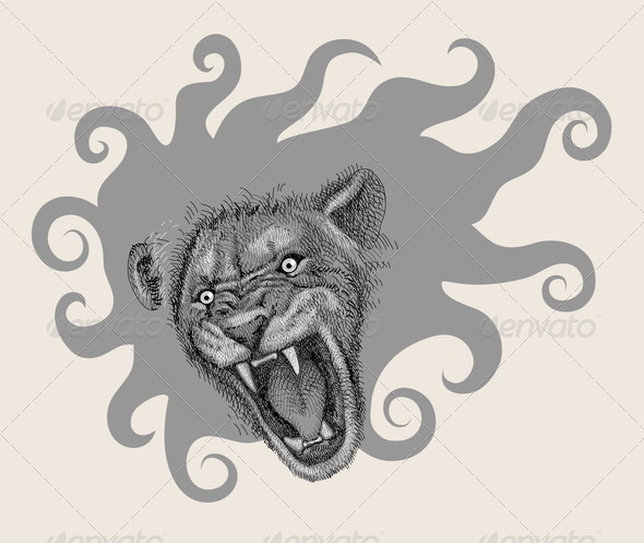 Lion head artistic drawing - Characters Vectors