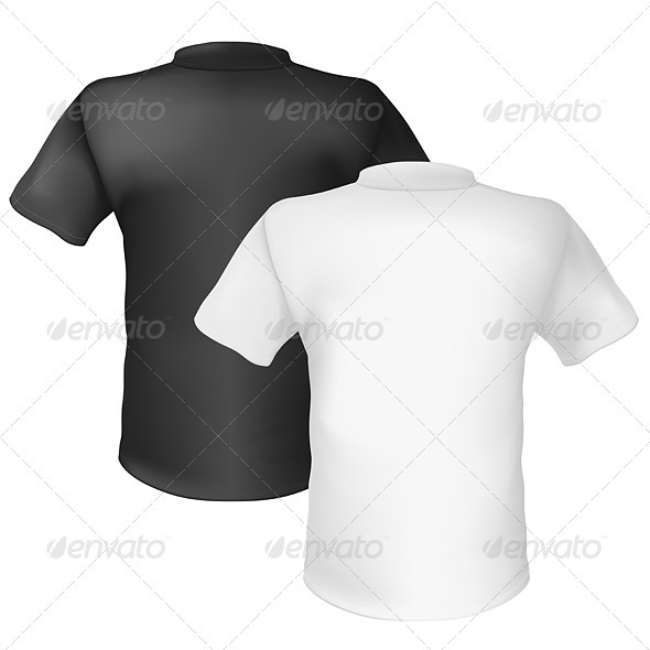 Black and white T-shirt Back View - Characters Vectors