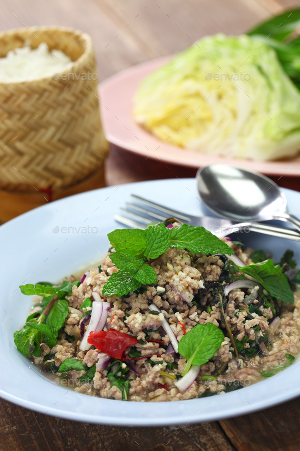 larb moo, pork type of Lao minced meat salad - Stock Photo - Images