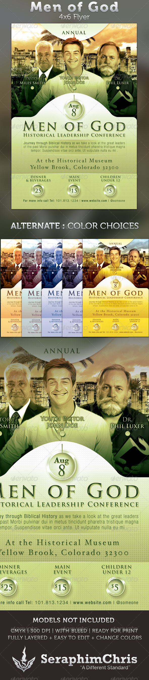 Men of God 4x6 Leadership Conference Flyer - Church Flyers