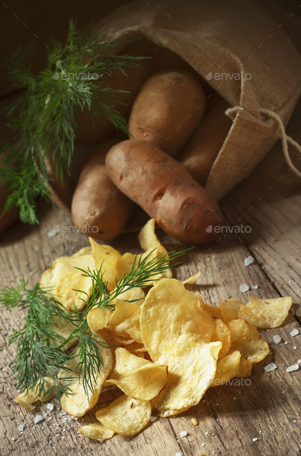 Salted potato chips - Stock Photo - Images