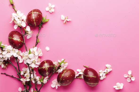 Easter pink background - Stock Photo - Images