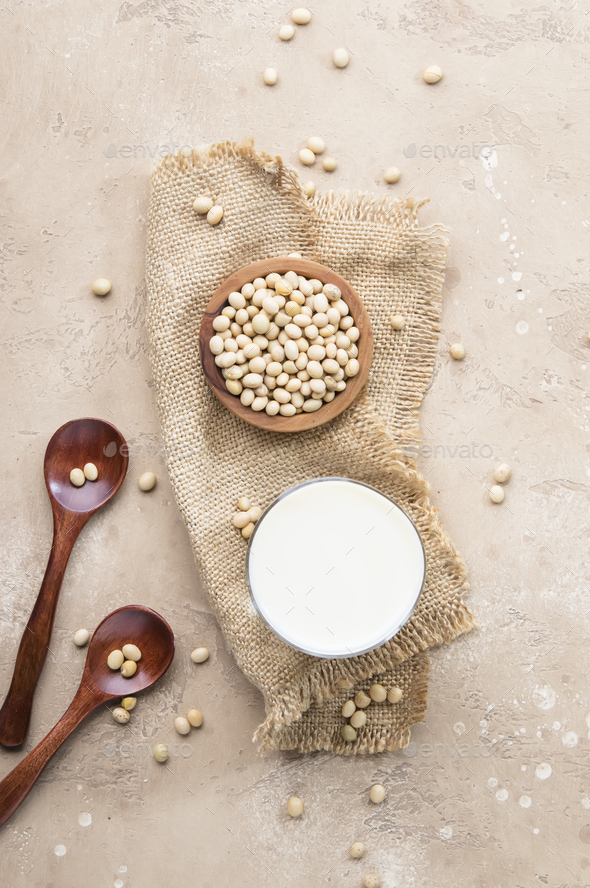 Soy milk and soy bean - Stock Photo - Images