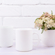 Two coffee mug mockup with pink beige wild flowers - PhotoDune Item for Sale