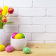 Easter rustic arrangement with eggs, red and yellow tulips - PhotoDune Item for Sale