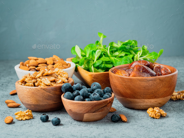 Superfoods on gray stone - Stock Photo - Images