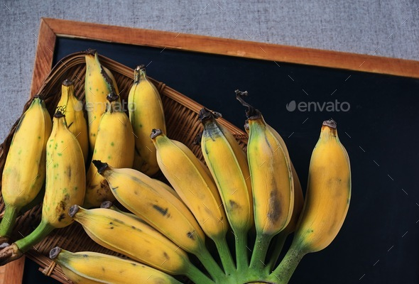 Top view yellow ripe banana that harvested from an organic farm - Stock Photo - Images