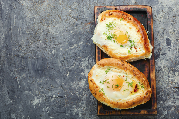 Homemade Adjarian khachapuri - Stock Photo - Images