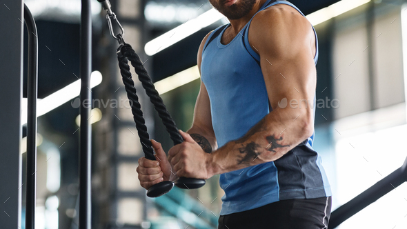 Muscular guy exercising with training apparatus at gym - Stock Photo - Images