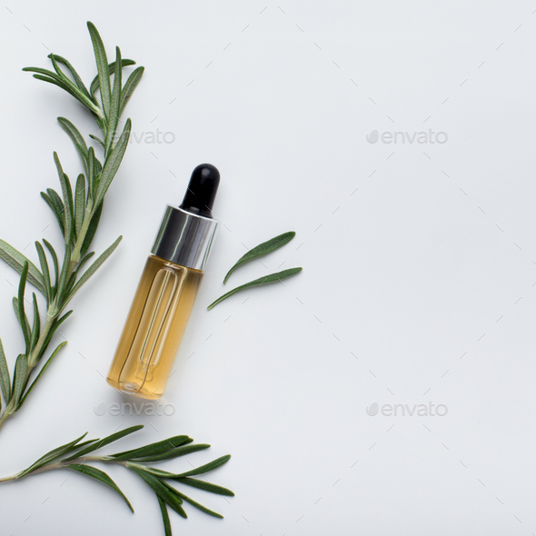 Rosemary essential oil in a small bottle and fresh rosemary - Stock Photo - Images