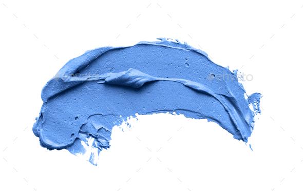 Classic blue brushstroke over white background, close up - Stock Photo - Images