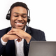 Happy black receptionist working in call centre - PhotoDune Item for Sale