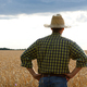 Farmer in straw hat stands at harvest ready wheat field - PhotoDune Item for Sale