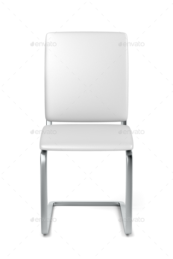 White leather dining chair - Stock Photo - Images