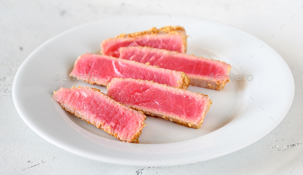 Tuna steak with sesame seeds - Stock Photo - Images