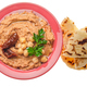 Flat lay view at Hummus topped with beans, sun dried tomatoes - PhotoDune Item for Sale