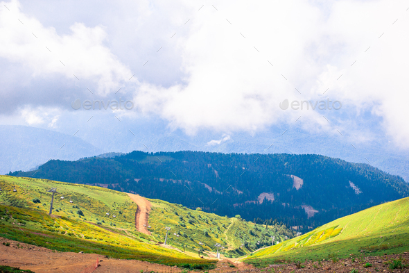 Great view of amazing hill in the warm sunlight. Picturesque and gorgeous scene. Popular tourist - Stock Photo - Images