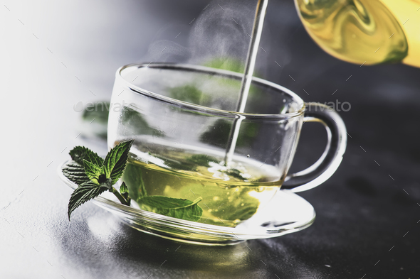 Hot green tea with mint - Stock Photo - Images