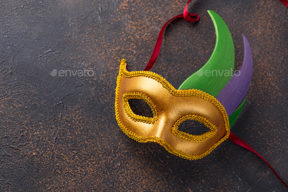 Mardi Gras background with carnival mask - Stock Photo - Images