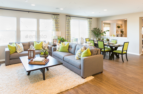 Beautiful Open Concept Interior Living Room of House - Stock Photo - Images
