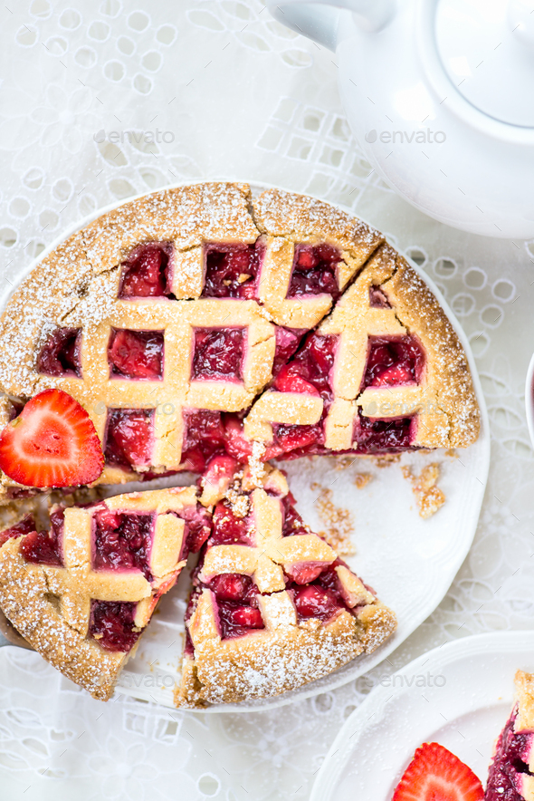 Apple, Strawberry and Blackberry Lattice Pie - Stock Photo - Images