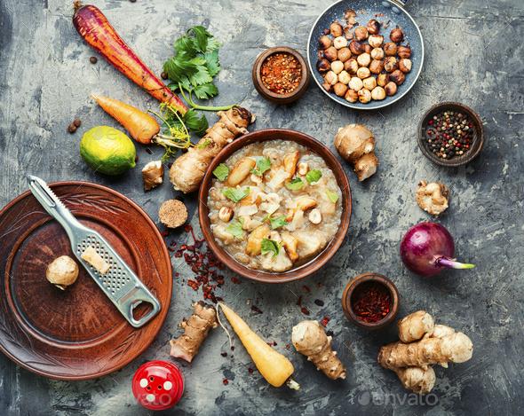 Creamy Jerusalem artichoke soup - Stock Photo - Images