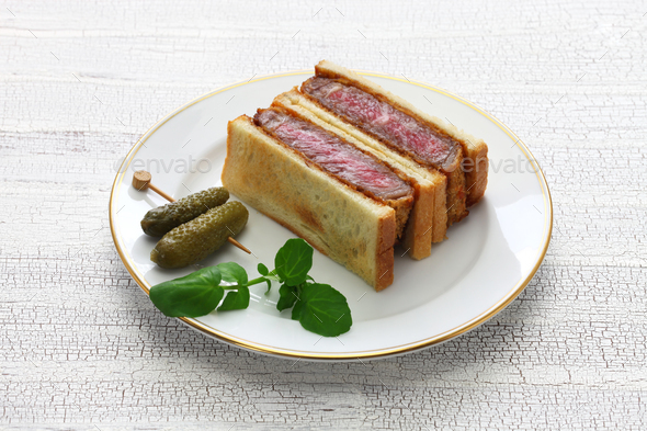 beef katsu sandwich, japanese food - Stock Photo - Images