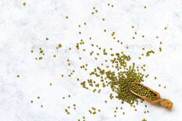 Dried mung beans with a spoon - Stock Photo - Images