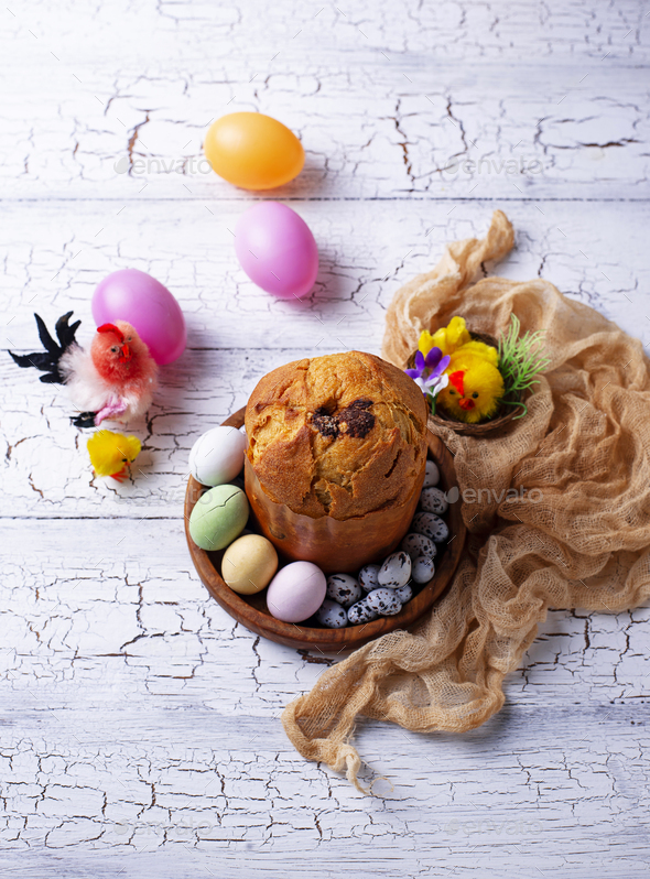 Italian Easter cake panettone or Russian kulich - Stock Photo - Images