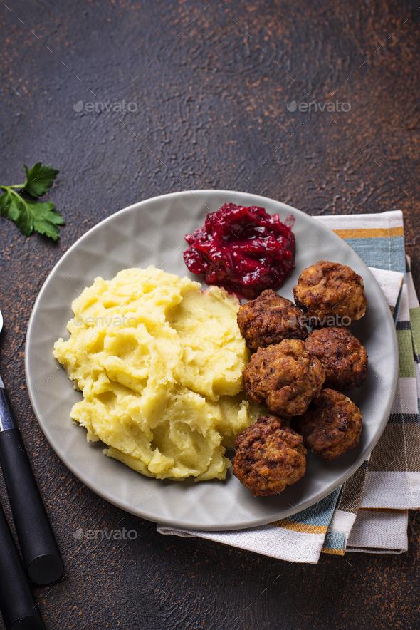 Swedish meatballs with mashed potato - Stock Photo - Images