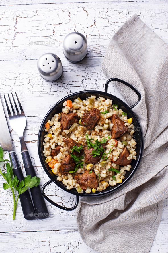 Bulgur with meat and vegetables - Stock Photo - Images
