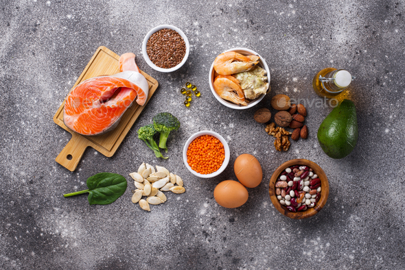 Products sources of Omega-3 acids - Stock Photo - Images