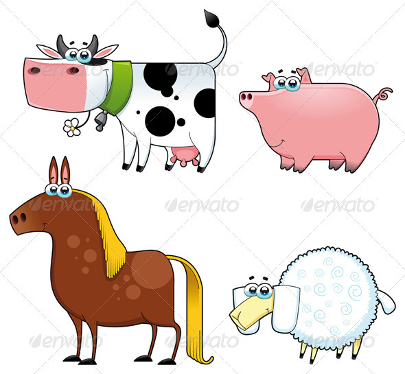 Funny farm animals.  - Animals Characters
