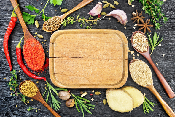 Frame of spices and herbs with plate on black board top - Stock Photo - Images