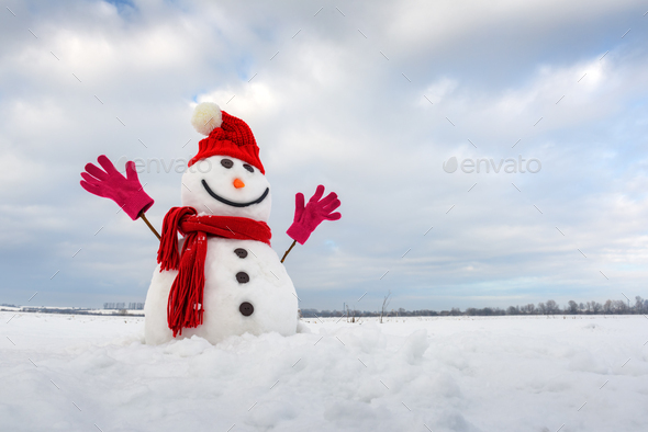 Funny snowman in stylish red hat and red scalf - Stock Photo - Images